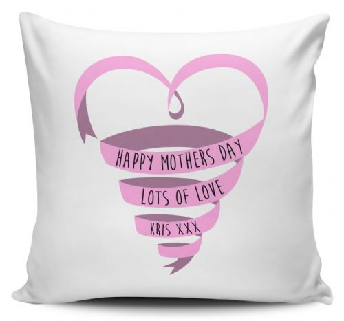 Personalised Happy Mothers Day Love Ribbon Novelty Gift Cushion Cover